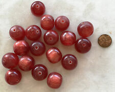 "16"" Strand Round Resin Bead  22mm RUBY RED SPARKLE - FAIR TRADE"