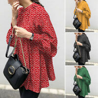 ZANZEA UK Womens Puff Sleeve Casual Loose Tops Retro Floral Printed Shirt Blouse
