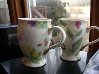 """Two Nantucket Home Floral Footed  Coffee Mugs or Cups 4.25""""tall"""