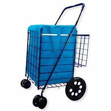 Folding Shopping Cart Double Basket Swivel Wheel Jumbo 360 Easy Rotation With.
