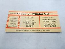 INK BLOTTER ADVERTISING THE A.G. WELLS CO. WHOLESALE DISTRIBUTORS