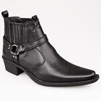 Men Gents Western Cowboy Boots Black Tan Cuban Heel Size 6 7 8 9 10 11 12