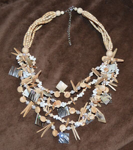 """Brand New in package ~ Necklace Mother of Pearl, Shell & Wood """"Awesome Piece"""""""