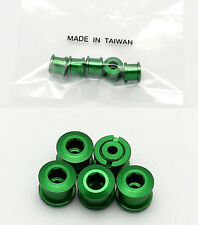 BIKE ALUMINUM SINGLE CHAIN CHAINRING CRANK NUTS BOLTS SCREWS 5 PAIRS - GREEN