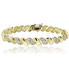 1ct TDW Lab Diamond San Marco Bracelet - Natural Yellow Gold Plated on Brass 9mm
