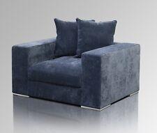 Amaris Elements | Sessel aus Samt XL - Sitztiefe blau grau breit 130x106xH65cm