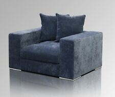 Amaris Elements | Sessel aus Samt Stoff groß XL blau grau breit 130x106xH65cm