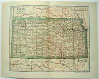 Original 1908 Map of Kansas by Dodd Mead & Company. Antique