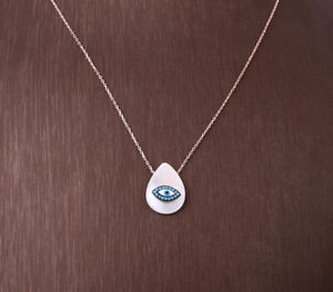EVIL EYE TURQUOISE ROSE GOLD COLORED OVER STERLING SILVER NECKLACE #32402