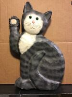 """Wood Carved Painted Folk Art Sitting Cat 10.75""""H Vintage Very Cute Signed"""
