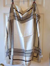 "Vintage Silk Scarf 30""x30"" Givenchy Tan Brown White Stripes Plaid EUC"
