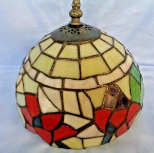 VINTAGE ART NOUVEAU TIFFANY STYLE LEADED GLASS LIGHT LAMP SHADE