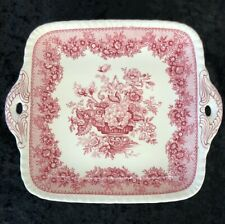 Square Mason's Ironstone Ascot Red Serving Plate Platter England 9 Inch Handles