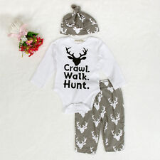 Newborn Kid Baby Girl Boy Outfit Clothes Romper Jumpsuit Tops+Long Pants+Hat