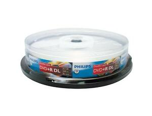 10 PHILIPS Logo 8X DVD+R DL Dual Double Layer Disc Storage Media 8.5GB Cake Box