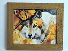 WOLF PICTURE BLACK AND WHITE WOLF  AUTUMN LEAVES RUSTIC CEDAR FRAMED 8X10