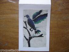 carte postale Postcard fantaisie en tissu batik AFRIQUE AFRICA oiseau bleu vert