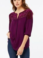 New Ladies Ex Monsoon RRP£45 Mia Tunic Blouse Lace Velvet Burnout Top  Size 8-14