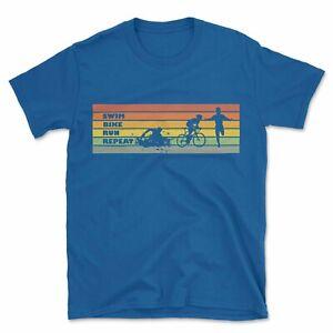 Swim Bike Run Repeat T-Shirt | Triathlon Stripes Sport Fitness Gift