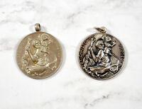 Vintage St. Christopher Pray For Us Medals LOT of 2 Saint Christopher Medals