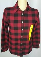 Orvis Womens Snap Front Long Sleeve Red Buffalo Plaid Flannel Jacket Small NEW