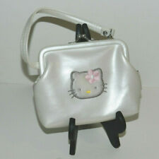 Vintage HELLO KITTY Mini Coin Purse, White, Plush Face, Kiss Clasp | SANRIO 1997