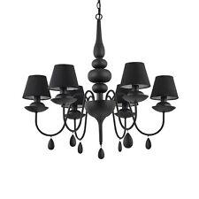 Lampadario moderno nero a 6 luci con tessuto collezione Blanche