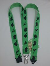 GREEN dinosaur silhouettes ribbon lanyard breakaway ID badge holder student gift