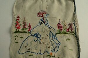 Vintage Hand Embroidered Linen Cushion Cover Crinoline Lady,  Hollyhocks