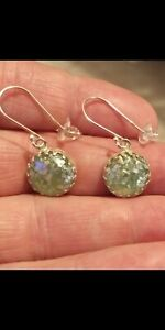 2,000 YR OLD ANCIENT ROMAN GLASS EARRINGS .925 SOLID SS