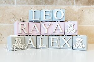 Personalised Solid Wood Baby Block Name Letters PRICE PER BLOCK. Minimum Order 2