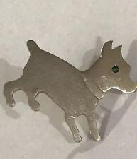 Vintage 14k White Gold Dog Pin With Emerald Eye