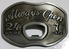 ALWAYS OPEN BOTTLE OPENER BELT BUCKLE DESIGNS & QUALITY AMAZING STYLES NEW USA