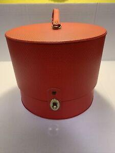 Everbest Originals Vinyl Hat Box Wig Case Travel Luggage Carrier Hollywood Red