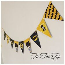 1x BATMAN Superhero Banner Bunting Flag. Party Supplies Lolly Loot Bag Room Deco
