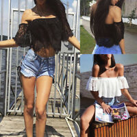 Womens Ladies Off Shoulder Casual Lace Short Sleeve Boat Neck T-shirt Top Blouse
