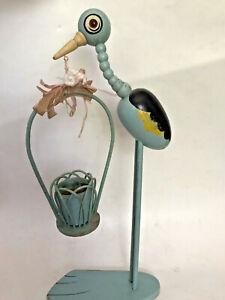 "18"" Old VTG Stork Bird Figure Hand Paint Wood Glass Eyes Baby Shower Nursery"