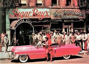 1950 SUGAR RAY ROBINSON BOXING CHAMP HARLEM CLUB BAR BUSINESS CADILLAC 5X7 PHOTO