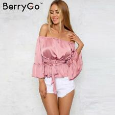 US 12 Off Shoulder Satin Blouse Shirt Summer Casual Flare Sleeve Glossy Tops