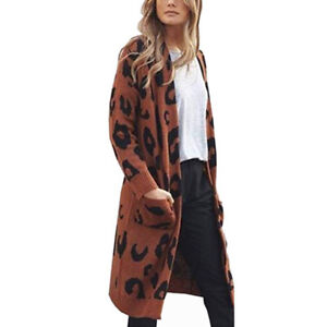 Womens Leopard Cardigan Knitted Sweater Long Sleeve Coat Casual Pocket Outwear