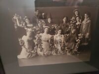"Vintage Framed Photo Play Actors Costumes original wood frame 13""× 11"""