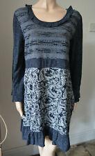 Joe Browns blue multi fabric jersey stretch short dress long top frilly 16 L
