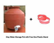 Terracotta Clay Water Storage & Dispenser Pot Tank Container With Lid 8 L Matka
