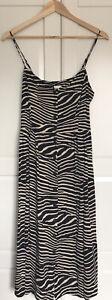 Fab Animal Print Zebra Stripe Button Up Sun Dress H&M 16 Retro 90s Grunge