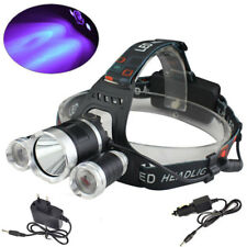 Rechargeable 6000lm White & UV XM-L T6+2R2 USB Headlamp Head Torch 18650 Charger