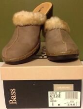 Bass Fawn Shearling Lined Clog Shoes Women's Size 9M Leather Suede Fuzzy Slip On