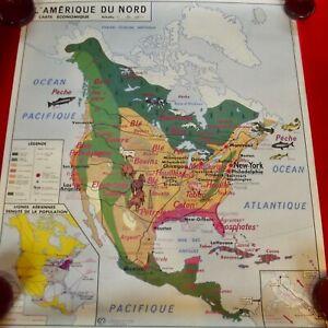 Old Map School Poster MDI Asie Amérique du Nord Homard Saumon Phoque Pêche