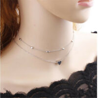 Women Simple Love Heart Choker Necklace Multi Layer Beads Chocker Necklaces