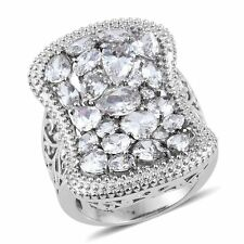 DIAMOND WHITE VVS CLEAR SIMULATED DIAMOND STEEL HYPOALLERGENIC STATEMENT RING 5