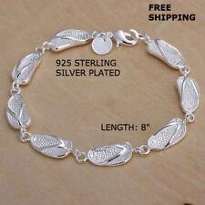6483ea47f09a Mujeres moda joyería de plata esterlina 925 Cadena pulsera con dijes  Brazalete Flip Flop
